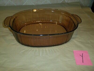 Corning Ware Vision Amber 4 L Oval 4Q Open Roaster Ribbed Dutch Oven Baking Dish