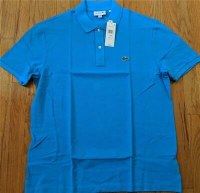 f828bbd13862b6 Mens Authentic Lacoste Slim Fit Pique Polo Shirt Ibiza Blue 9 (4XL) $89