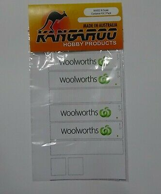 N Scale Woolworths Container Kit for 2 containers Kangaroo Brand