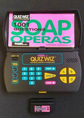 TIGER QUIZ WIZ Vintage Electronic Handheld Question Answer Game with Games  Books