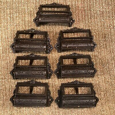 TE28 LOT Antique Cast Iron Eastlake Victorian Drawer Pull Handle Apothecary