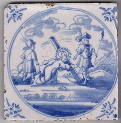 Religious Delft Tile c. 18th century (D 90)  The  Road to Calvary