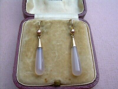 Antique Victorian/Edwardian 9ct Rose Gold Chalcedony Drop Earrings.