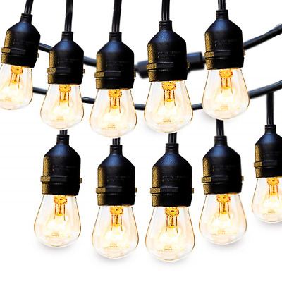 2 Pack Outdoor String Lights Commercial Great Weatherproof Strand Dimmable Café