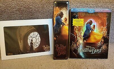 Beauty and the Beast LOT: Blu-ray, DVD, Slipcover, Lithograph, Bookmark, Digital