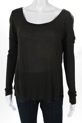 2e712c081b6d7a Enza Costa Olive Green Ribbed Long Sleeve Crew Neck T-Shirt Size Medium