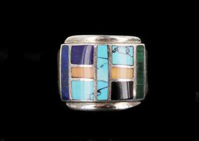 Vintage Signed LUC Navajo Sterling Silver Multi Stone Inlay Ring Size 6.5
