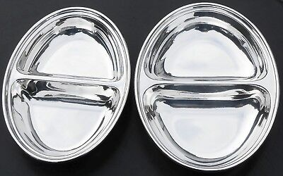 VINTAGE 2x TWIN VEGETABLE SERVING DISHES OVAL SHAPE - SILVER PLATED - SHEFFIELD