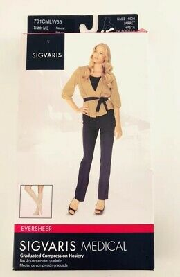 Sigvaris Graduated Compression Hosiery 15-20, Knee-High Natural, Size ML