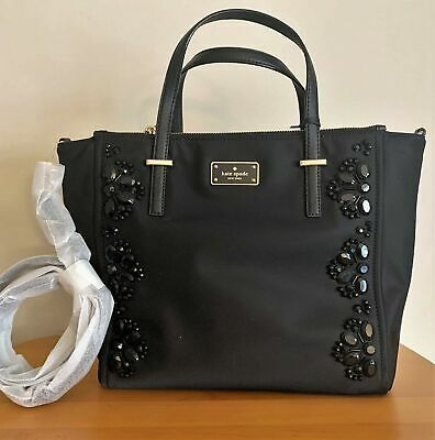 fe8857409b0fa KATE SPADE Alyse Satchel Crossbody ~ Embellished Black Nylon ~ Wilson Road  NWT