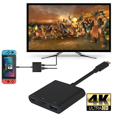 1080P 4K HDMI Adapter for Nintendo Switch USBC HDMI Converter Type-C Hub Adapter