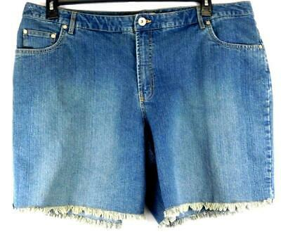 2373a4f829 Faded glory blue denim embroidered women's plus size belt loop frayed shorts  24W