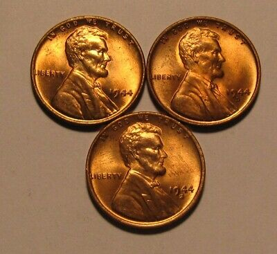 1944 1944 D 1944 S Lincoln Cent Penny - BU Condition - 34SA