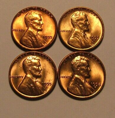 1955 1955 D 1955 S 1958 D Lincoln Cent Penny - BU Condition - 45SA