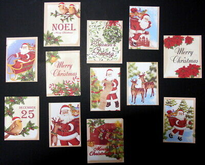 Colourful CHRISTMAS CARD TOPPERS  x 12 ~ Scrapbooking/Cardmaking/Papercrafts