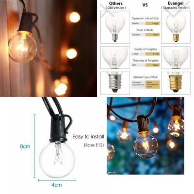 25Ft G40 Clear Globe Bulb String Lights with 25 G40 Incandescent Bulbs + 3 Spare