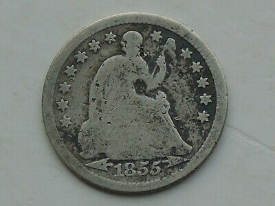 USA Seated Liberty Half Dime 1855, arrows at date, 0.900 silver Mid- 19thC
