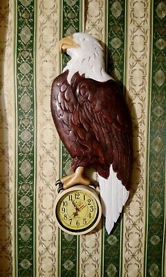 wood carving eagle with clock