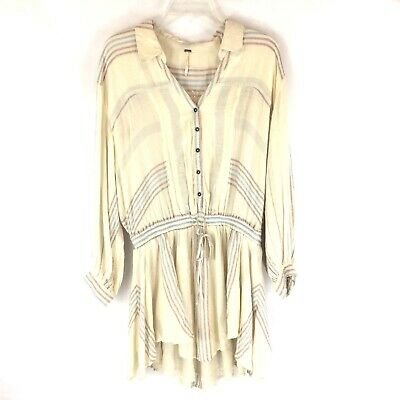 145cff50af5 New Free People Ivory Flannel Pink Blue Striped Button Up Tunic Mini Dress  XS
