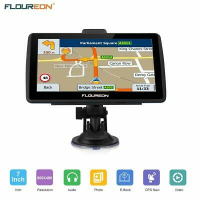 "FLOUREON Navigatore Touch Screen 7"" GPS Mappe EU UK 8GB Espandibile Auto Moto"
