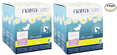 2PACK Natracare Organic Cotton Cover Ultra Pads - Long 10 Ct each