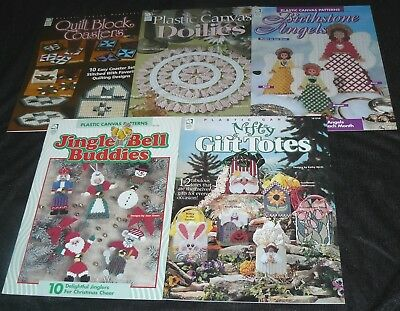 Lot of 5 Plastic Canvas Pattern Books Leaflets Totes Angels Doilies Coasters...