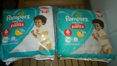 64 Couches Culottes Pampers Baby Dry Pants Taille 6 - 15+ Kg
