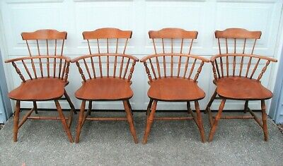Vintage (4) NICHOLS & STONE CO. Maple Wood Spindle Arm Chairs
