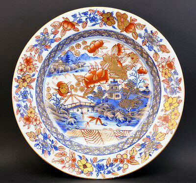 c1740, FINE ANTIQUE 18thC QING QIANLONG CHINESE EXPORT CLOBBERED PORCELAIN PLATE