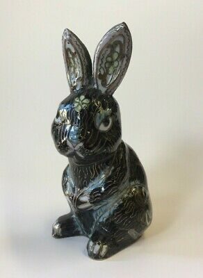 Vintage Chinese Cloisonne Rabbit metal Sculpture Figure Figurine Easter