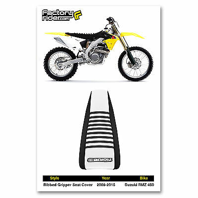 All Black Enjoy MFG Ribbed Seat Cover for 2008-2017 Suzuki RMZ 450 Later Models Black Ribs