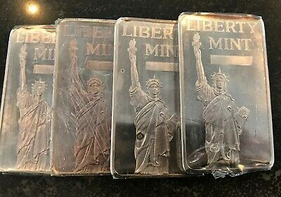 Vintage 4 x 10 Troy oz (40 ounces) .999 Fine Silver Bullion Bars Liberty Mint