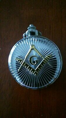 Vintage Pocket Watch With Chain - Freemason Masonic Japan Movement Silver Gold