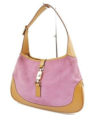5d513b184 Authentic GUCCI Jackie O Purple Suede and Leather Tote Hand Bag Purse  #31665B
