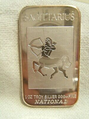 1 Oz Troy Silver Bar National Sagittarius Zodiac