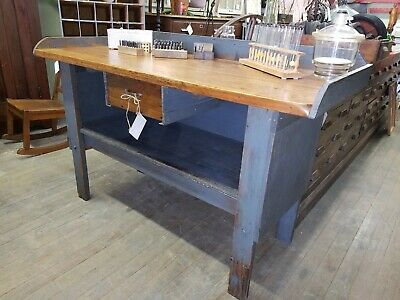 Swell Farmhouse Antique Workbench Kitchen Island 550 00 Picclick Gmtry Best Dining Table And Chair Ideas Images Gmtryco