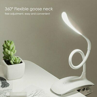 USB Rechargeable Clip-on Table Desk Book Reading Light LED Dimmable Night Lamp