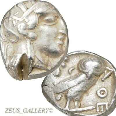 ATHENA Owl AΘE ATTICA Athens Greece Tetradrachm Ancient Greek Silver Coin 440 BC