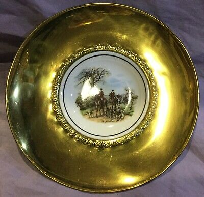Fox Hunt Hunting Small Brass and Porcelain Regency Wall Hanging Plate