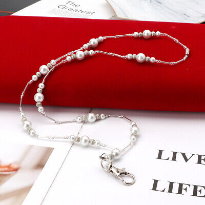 White Hidden Hollow Beads Pearls Beaded Lanyard ID Badge Holder Pendant Necklace