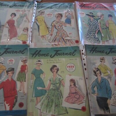 7 Home Journal Vintage Sewing Magazines with Patterns 1963 Retro Craft Paper LOt