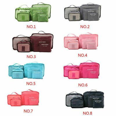 6PCS Travel Packing Cube Pouch Suitcase Clothes Storage Bags Luggage Organizer