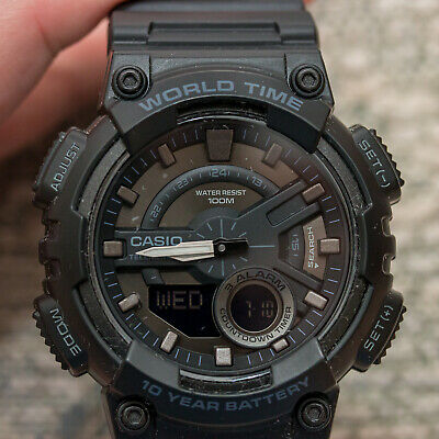 Casio AEQ-110W-1BV Mens Black 100M World Time Digital/ Analog Sports Watch New