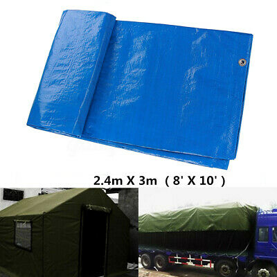 2.4mx 3m Tarpaulin Camping Heavy Duty Vehicle Strong Cover Shelter Camping Green