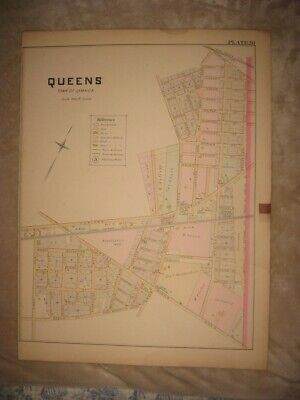 Masterpiece Huge Antique 1891 Queens New York Handcolored Map Rare Fine Nr