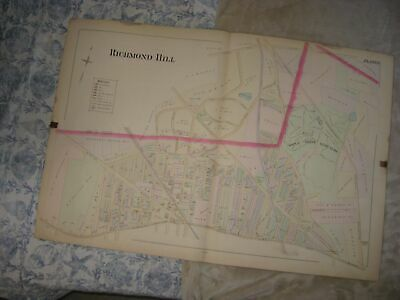 Masterpiece Huge Antique 1891 Richmond Hill Queens New York Handcolored Map Rare