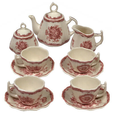 Mini 13 Piece Floral Rose Transferware Porcelain Tea Set - Antique Reproduction