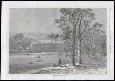 1869 Antique Print - MERSEYSIDE KNOWSLEY HOUSE EARL DERBY GROUNDS (130)