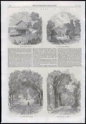 1869 Antique Print - MERSEYSIDE KNOWSLEY HOUSE GROUNDS LODGES EARL DERBY  (136)