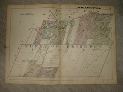 Vintage Antique 1924 Brighton Monroe County New York Handcolored Map Detailed Nr